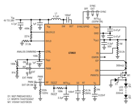 同步、低 EMI LED 驱动器具集成式开关和内部 PWM 调光能力