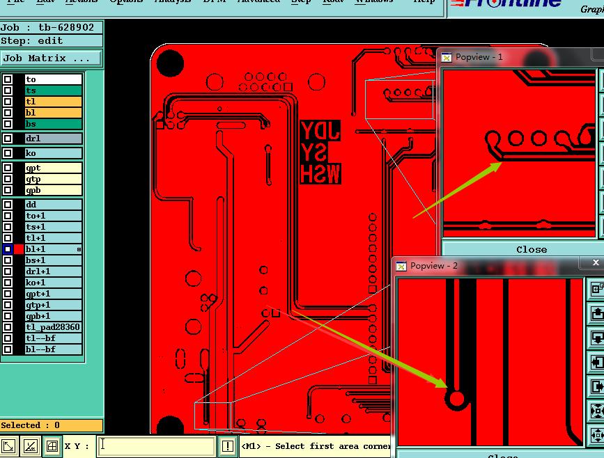 文件设计开路,阻焊开窗比例与线路字不一样。示意图1