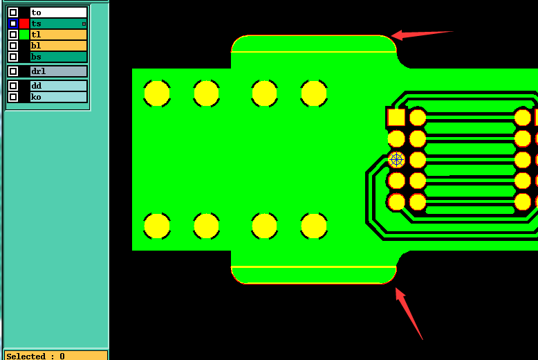 阻焊的开窗只画了轮廓,两边接地需要将轮廓填实。示意图1