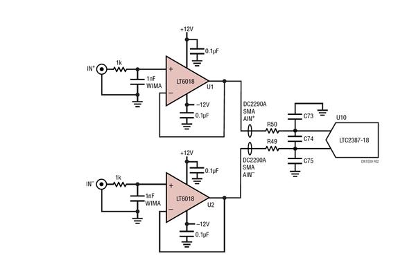 低噪声精准运放驱动高分辨率寄存器 ADC电路设计