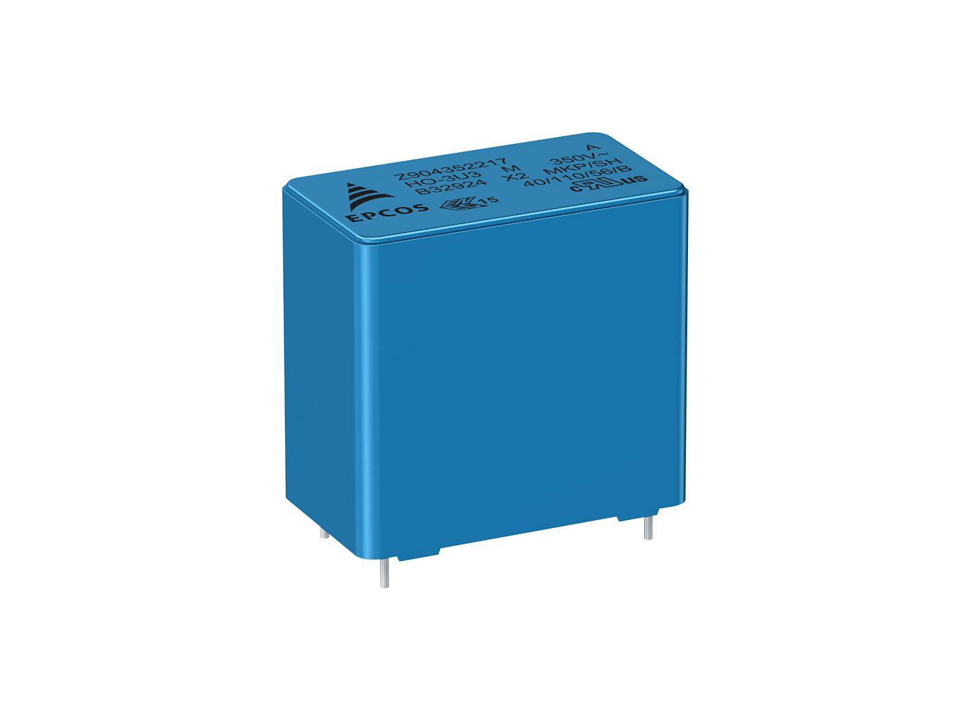 薄膜电容器 更高耐压的工业级 X2 电容器 额定电压为 350 V AC