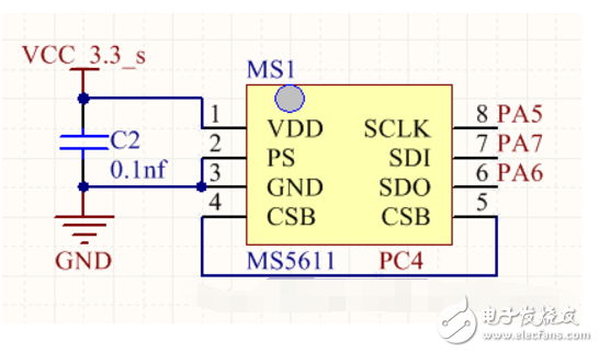 气压传感器MS5611使用SPI接口的程序