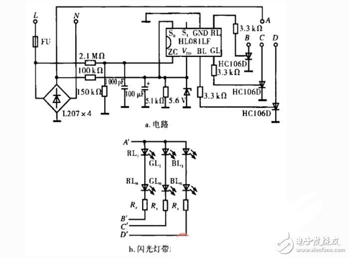 led灯控制器线路图由电源电路、脉冲发生器、控制电路和LED显示电路组成,如下图:    元器件选择   Rl选用1/2W金属膜电阻器;R2-R8选用1/4W或1/8W金属膜电阻器;宇灯单元中各电阻器均选用lW金属膜电阻器。   Cl选用耐压值为630V的CBB电容器或涤纶电容器;C2和C3均选用耐压值为25V的铝电解电容器;C4釉C5选用涤纶电容器或独石电容器。   VDl、VD2和字灯单元中各隔离二极管均选用1N4007型硅整流二极管;VD3选用1N4148型硅开关二极管。   各字灯单元中的发光