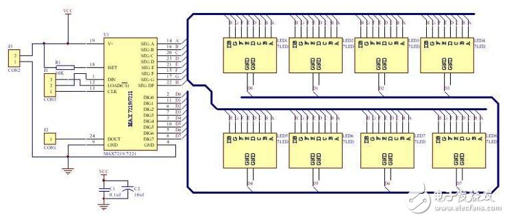 max7219驱动4个数码管连接图