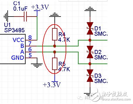双向稳压二极管d1,d2,d3:    这里使用的双向稳压二极管型号是smaj6.