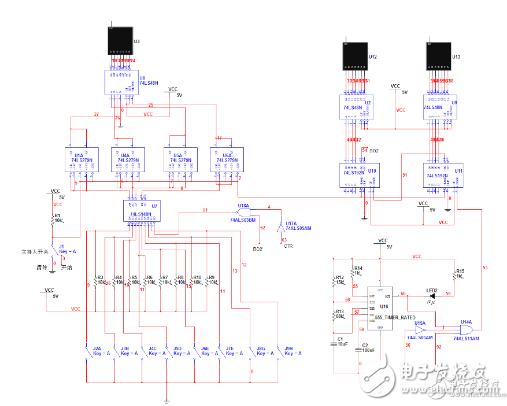 抢答器由单片机以及外围电路组成,由于采用单片机,使得外围电路非常简单。 如下图为抢答器的电路原理图,单片机AT90S1200的PB口的PB7~PB2为输入口,接抢答按键开关,当有某个按键按下时,对应口的电位跳低,被单片机检测到并执行相应的程序,比如让数码管显示或者控制音响电路发声等。PD口接数码管,用于显示哪个组抢到,并一数值方式显示出来。PB口的PB0通过电容接到门铃音乐集成电路的触发端,当有某一组抢到时发出声音。电路中,轻触开关SB为复位开关,按下SB,可以让系统复位。当一次抢答完毕以后,只有按下SB