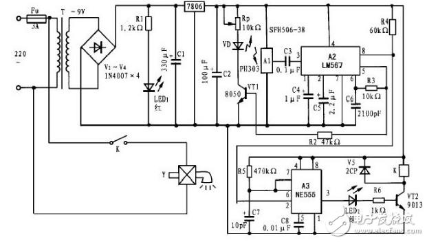 220v交流电路经变压器t降压,变为9v交流电,再由~桥式整流,c1滤波
