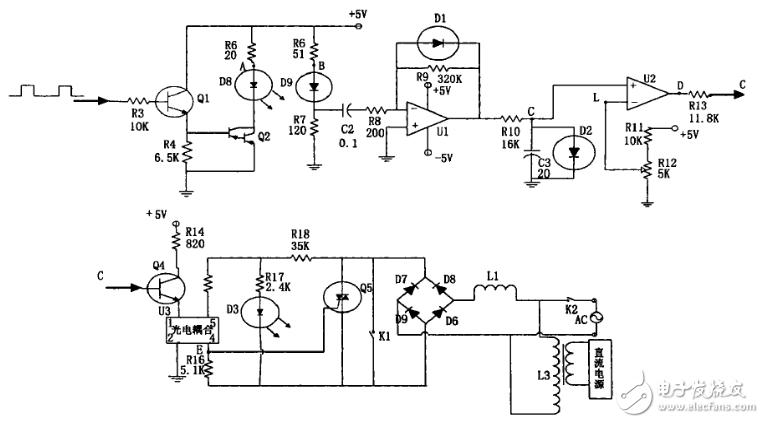 红外线自动洗手器的电路原理图如图3所示,电路分为六部分。 第一部分电源。电源由变压器B,桥式整流电路D2一D5稳压器IC3和滤波电容C5、C10组成。整流后的直流为电磁阀提供直流电源,稳压后的电压提供给控制电路。 第二部分锁相电路。由IC2及其外围元件组成,它对外来输入信号和本身振荡信号的相位(频率)进行比较,当输入到脚的外来信号的相位(频率)和本身的振荡信号的相位(频率)相同时,其脚的输出电压由高变为低。同时利用本身的振荡信号,为红外线发射电路提供信号源。该电路的振荡频率由电阻R5、电容C11所决定,