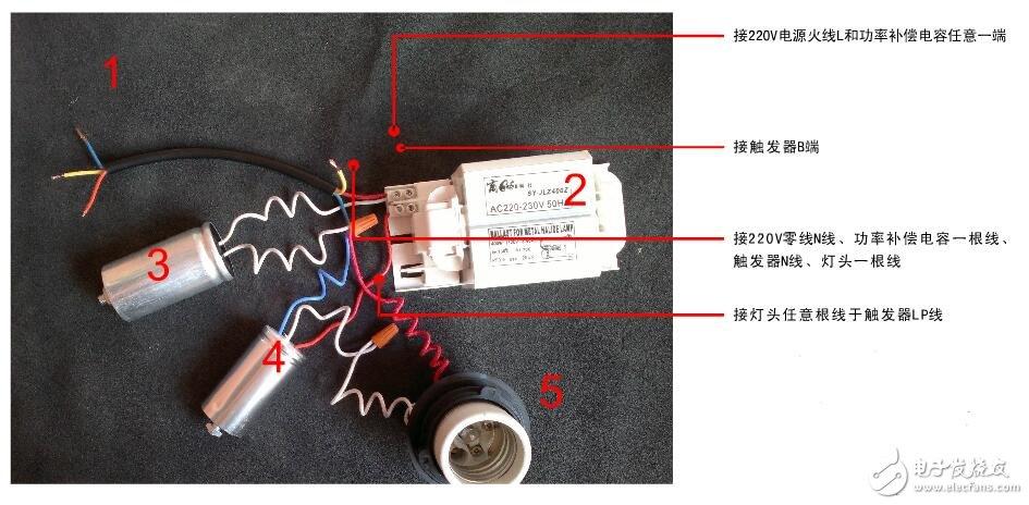 金属卤化物灯主要依靠金属卤化物作为发光材料,金属卤化物以固体形态存在灯内。因此,灯内必须充有少量的引燃气体氢或氙,以便点燃灯泡。灯点燃后,首先工作在低气压弧光放电状态,此时灯两极电压很低,约18~20V,光输出也很少,这时主要产生热能,使整个灯体加热,引入灯中的金属卤化物随温度升高不断蒸发,成为金属卤化物蒸气,在热对流的作用下,不断向电弧中心流动,一部分金属卤化物被电弧5500~6000K高温分解,成为金属原子和卤素原子,在电场的作用下,金属原子被激发发光;另一部分金属卤化物不被电弧高温所分解,在高温