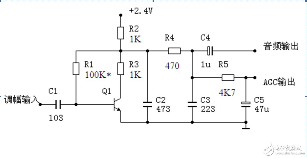 高增益三极管检波器