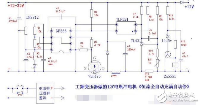 简易12v充满自停电路图(六款充满自停电路分析)