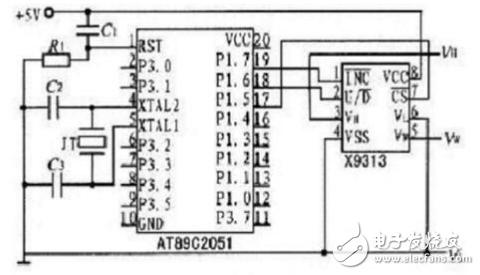 这里以常用的at89c2051单片机为例介绍数字电位器与单片机的接口电路