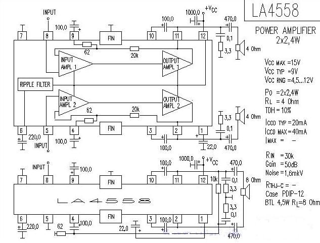 4558双声道运放电路图二:f4558运放电路图