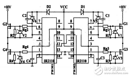 全桥电路有两对场效应管,因此需要两块ir2i10构成驱动电路,由ir2110构