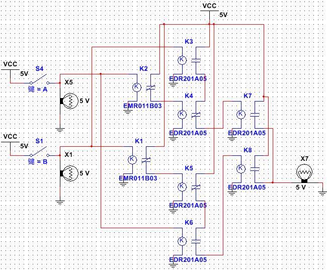 "ab两个输入电路为a通,b不通的时候,整个""异或门""会通过下方的路线使"