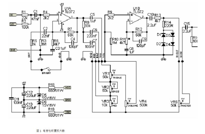 功放电路图)    偏置电流可调,并应约静态电流为25ma,额定输出功率