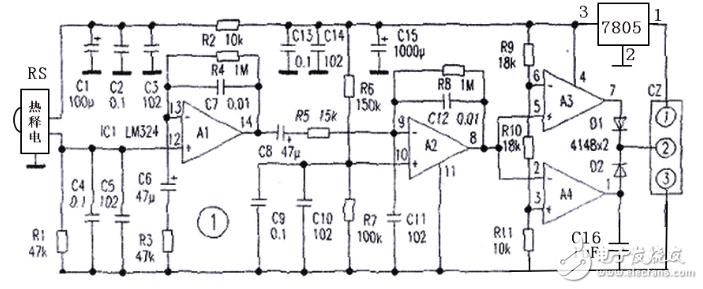 图1是人体感应信号产生及放大电路。其中RS是热释电远红外被动式传感器,A1、A2是两级放大器。传感器检测到人体红外线后产生的感应信号很微弱,电路中设置了诸多旁路电容都是为了抑制干扰,避免误动作。A3、A4是上、下限电压比较器,平时A2的输出电平比A3脚电平低,而比A4脚电平高,A3、A4输出皆为低电平。只有传感器感应产生的交变信号经放大达到足够电平才能使A3或A4输出为高电平,以控制后续电路工作。