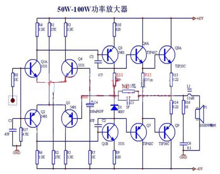 简易100w功放电路图(八款100w功放电路图)