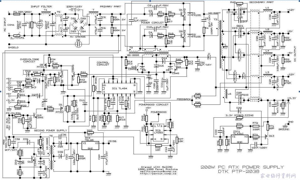 先发个atx的电路图,以便参考,我是用at电源改的,电路大同小异.