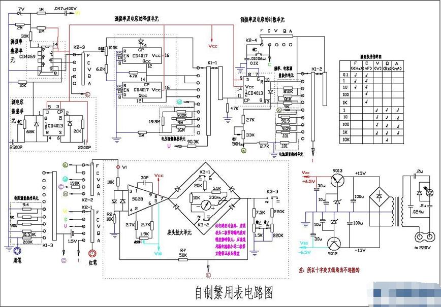 一個繁用表(測量電壓、電流、電阻、電容、頻率)的電路圖