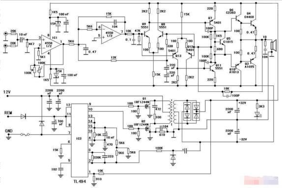 4558低音炮电路图_低音炮常见故障及维修技巧