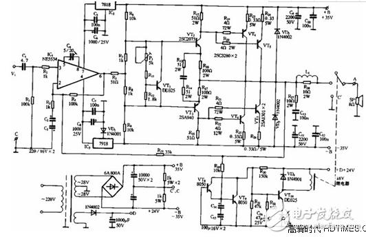 功放机电路图系列二(各类型功放电路图原理详细解析)