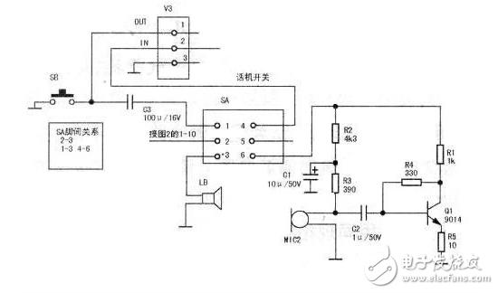 q2饱和,继电器k得电,触点闭合,电磁锁lock得电动作,楼宇门打开.