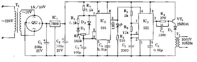 555间歇式臭氧发生器电路图(四款臭氧发生器电路图详解)