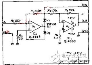 用运放4558实现的理想二极管电路及原理