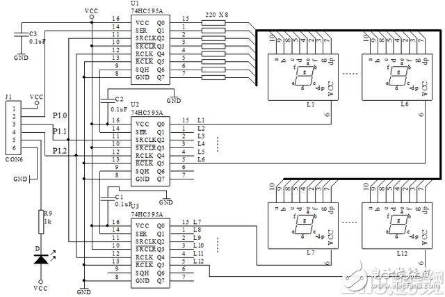 基于74HC595A实现多位LED串行显示电路设计