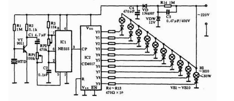 cd4017工作原理详解 cd4017引脚图及功能 内部结构及应用电路图