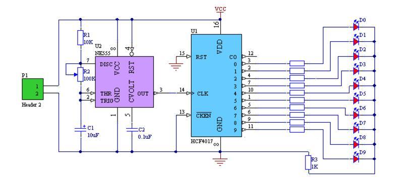 cd4017流水灯电路图 六款cd4017流水灯电路介绍