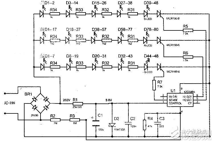 基于12C508A控制的LED循环点亮电路