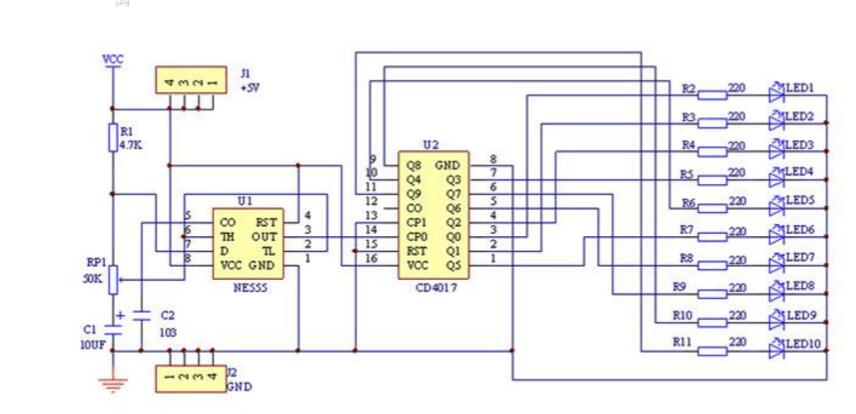 cd4017流水灯电路图 四 cd4017流水灯电路图 六款cd4017流水灯电路