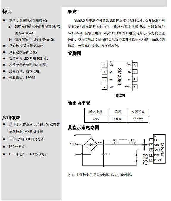 钲铭科高压线性恒流IC SM2083