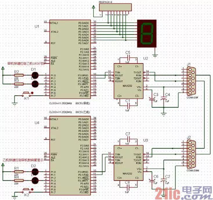 甲机通过串口来控制乙机发送的数字显示在数码管上