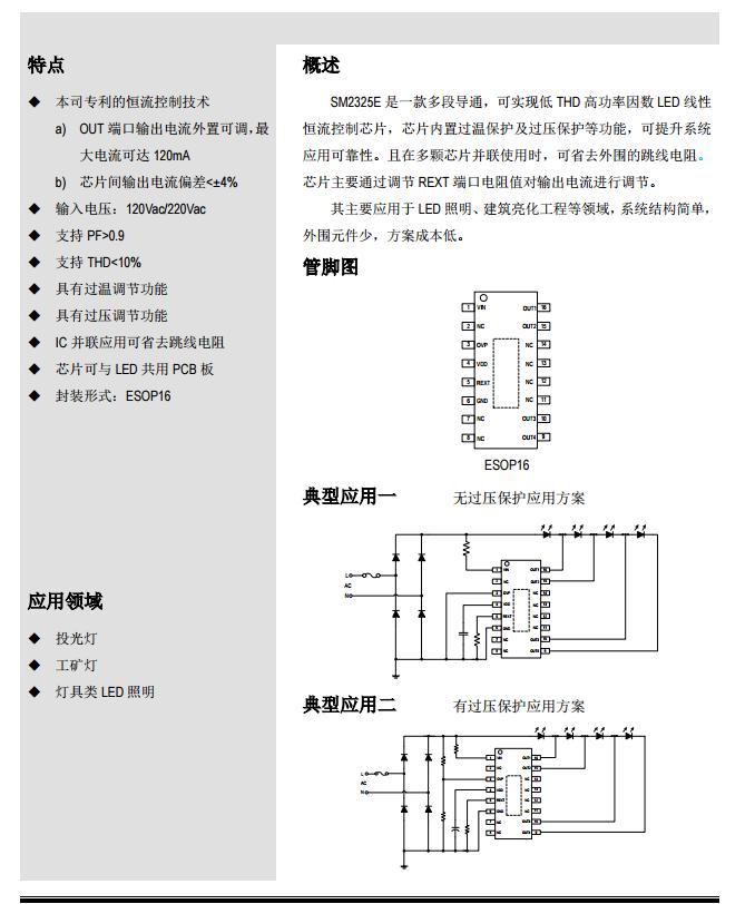 低THD高功率因数LED线性恒流控制IC-SM2325E详情介绍