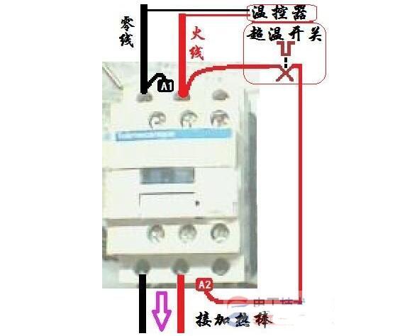 1、3、5接三相电源,(主电路部分)   2、4、6接三相电机   A1、A2是这个接触器的线圈,接到控制电路里面去,通过控制这个接触器的线圈(A1、A2)来实现控制住电路部分的电机(以小控大)。   13、14表示这个接触器的辅助触点,NO表示为常开,也就是没通电的情况下13、14是断开的,通电后13、14是闭合的。放在控制电路部分用来自锁(并联在启动按钮上),达到连续运行的目的。    首先电源三相分别接接触器的主触点L1,L2,L3,再从接触器的T1,T2,T3接出三根线接电机的三个接线柱,以上