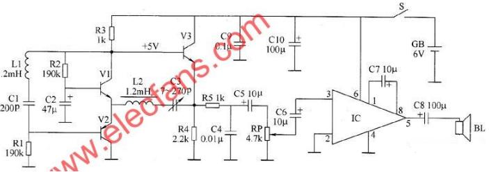脉冲金属探测器电路图大全(五款脉冲金属探测器电路原理图详解)