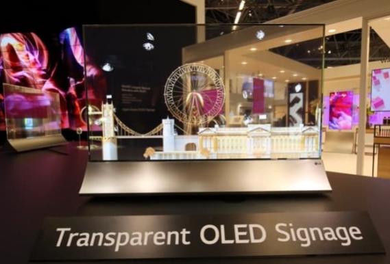 LG透明OLED显示屏惹人注目  55英寸曲率固...