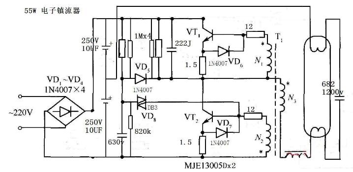 55w电子镇流器电路图(六款55w电子镇流器电路...