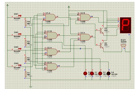 图3-2四人同意,四个led灯亮,数码管显示p,表决通过.