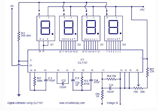 五款基于icl7107电压表电路图设计详解