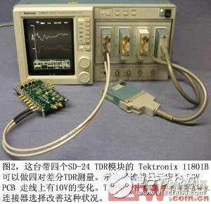 图2这台带四个SD-24TDR模块的Tektronix11801B可以做四对差分TDR测量示波器迹线显示应为50VPCB走线上有10V的变化TDR显示出如何通过布局和连接器选择改善这种状况