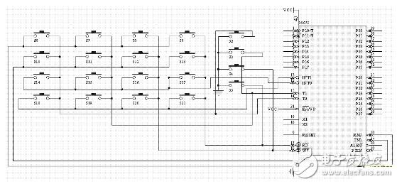 stc52单片机键盘原理图及程序介绍