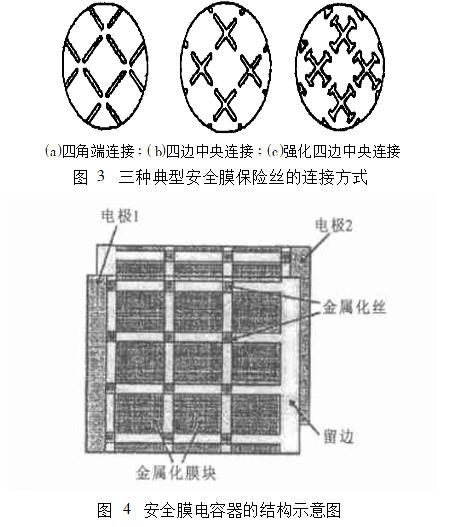 一种安全膜电容器结构见图4,当某一膜块中发生击穿时,击穿点会发生