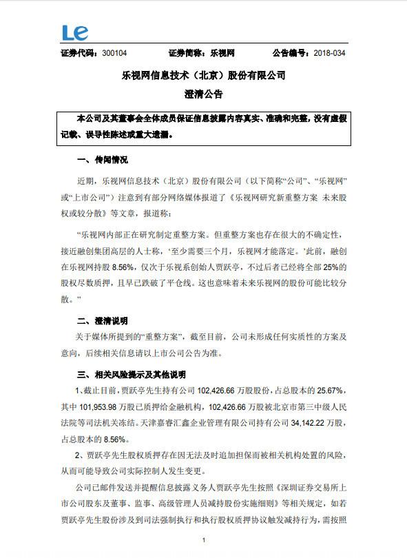 乐视网发布澄清公告 未形成任何实质性的重组方案