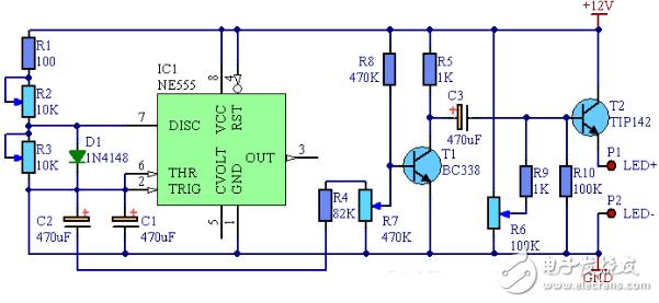 ne555呼吸灯电路图大全 四款ne555呼吸灯电路设计原理图详解 全文图片
