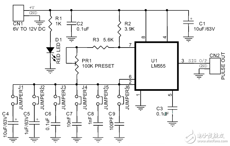 555脉冲发生器电路图大全(六款555脉冲发生器电路设计原理图详解)