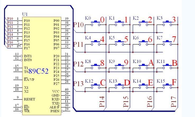 单片机8x8矩阵键盘原理说明